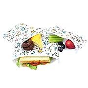 Langsprit Premium Reusable Sandwich & Snack Bags- Eco Friendly Dishwasher Safe Lunch Bags - Set of 3 - (Star)
