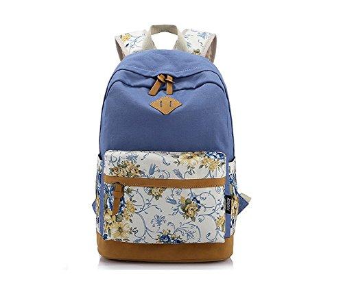 dos Hosaire Fille Sac pour College toile voyage 1X Sac en à Pastorale motif de Bleu wttFrPvq