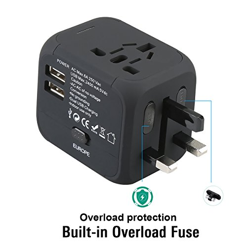 Universal Travel Adapter,All-in-one Worldwide Travel Chargers Adapters for US UK AU EU with Dual USB Charging Ports Universal AC Socket - Safety Fused(black)