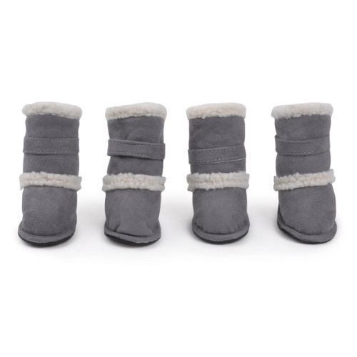 Side Collection East Boots - East Side Collection Polyester Classic Sherpa Dog Boot with Rubber Sole, Medium, Grey