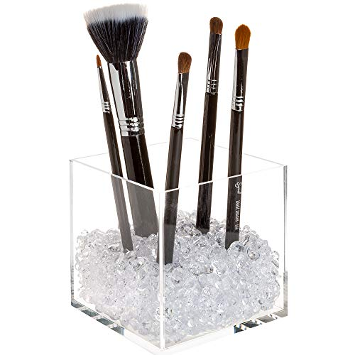 Crystal Clear Cosmetics - Pretty Display Makeup Brush Holder Organizer with Beautiful Diamonds - Premium Acrylic Cube with 2 Sizes of Clear Crystal Beads for Extra Sparkle