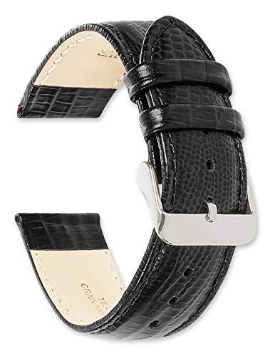 - deBeer Leather Watch Strap - Teju Lizard Grain - Black 19mm Watch Band