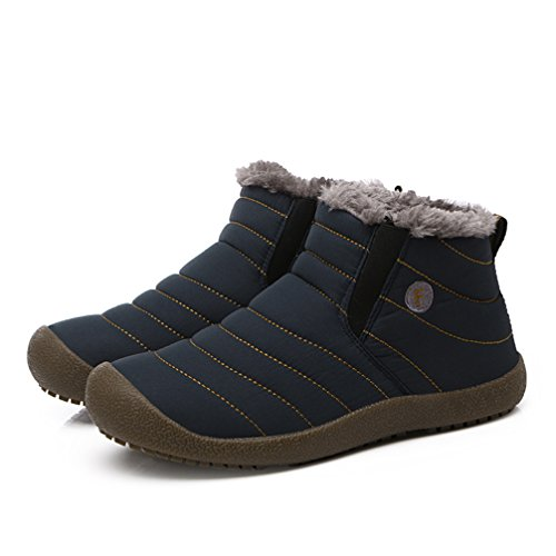 Winter Women Fur Boots Blue Shoes Casual Men on Snow Ankle Slip Lined Warm Fully UBFEN Waterproof Outdoor qS4wAcxHyt