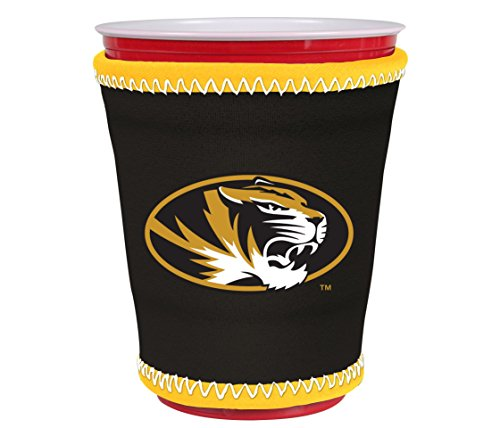 Kolder NCAA Logo Coolie Kup Holder Sleeve Fitting Plastic Cups, Pint Glasses, Coffee Cups, Ice Cream, Etc. - Neoprene and Bottomless (Missouri Tigers)