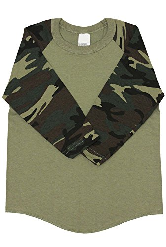 Kids Raglan 3/4 Sleeves T Shirts Baseball Baby (S (5-6Yrs 6T), Olive / Camouflage) (Camo Camouflage Raglan T-shirt)