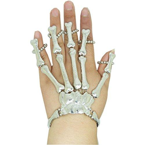 Voberry Chic Punk Gothic Bones Silver Skull Skeleton Hand Fingers Ring -