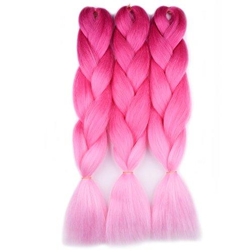Jumbo Braiding Hair (Purple Red/Hot Pink/Light Pink)3pcs Ombre Synthetic Braiding Hair Extension For Box Braids Senegal Twist Premium Soft ()