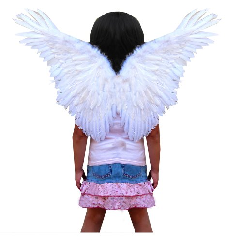 Butterfly Feather Fairy Wings for kids in White (Child Feather Wings)