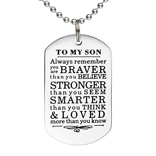 To My Son Daughter Gifts From Mom Dad Always Remember Inspirational Family Gifts  Military Ball Chain Necklace Gift Graduation Birthday Christmas by Eunigem