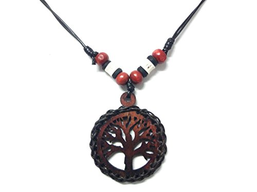 Medusa Costume Diy (Tree of Life Charm Wood Pendant Necklace Handmade Style Adjustable Black Cord)