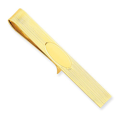 14k Yellow Gold Tie Bar with Stripe and Oval Detail by CoutureJewelers