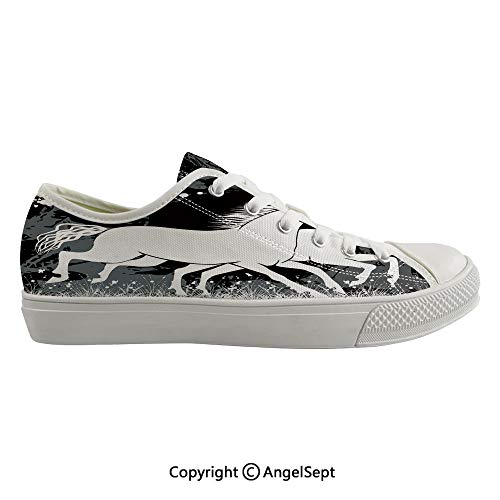 Durable Anti-Slip Sole Washable Canvas Shoes 16.53inch Antique Roman Time Gladiator Two Race Horses with Paint Marks Image,Black White Grey Flexible and Soft Nice Gift