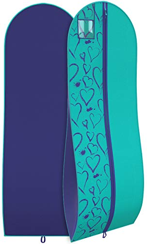 Women's Dress and Gown Garment Bag - Tiffany and Navy Hearts - by Your -