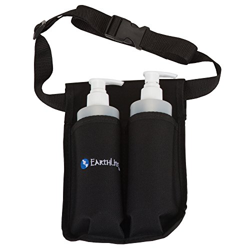 EARTHLITE Massage Bottle Holster Double Kit - Incl. 2 Bottles & Heavy Duty, Adjustable Double Holster for Massage Oil, Massage Lotion (2x 8oz)