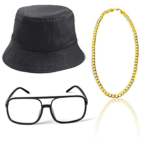 Beelittle 80s/90s Hip Hop Costume Old Style Cool Rapper Outfits - Bucket Hat Oversized Black Sunglasses Gold Plated Chain (A)