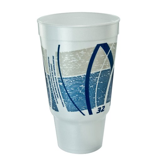 Dart 32AJ20E Impulse Hot/Cold Foam Drinking Cup, 32oz, Flush Fill, Printed, Blue/Gray, 16/Bag