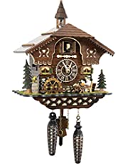 Cuckoo-Palace German Cuckoo Clock - The Brotzeit House - with Quartz Movement - 10.3 inches high - Black Forest Clock
