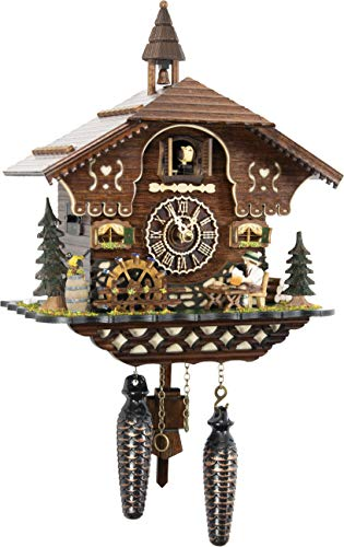 Palace Clock - Cuckoo-Palace German Cuckoo Clock - The Brotzeit House - with Quartz Movement - 10.3 inches high - Black Forest Clock