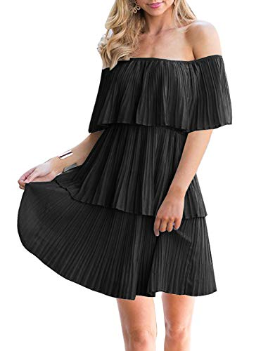 (Soesdemo Women's Casual Off The Shoulder Sleeveless Tiered Ruffle Pleated Party Cocktail Dress Black, Large)