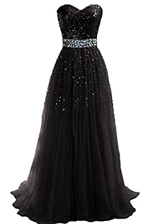 Amazon.com: Hi Girls Exquisite Sweetheart Tulle Long Prom