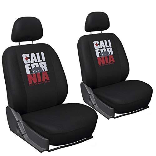 Motorup America Low Back Bucket Auto Seat Cover Set - Fits Select Vehicles Car Truck Van SUV - California Logo -