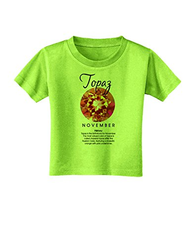 Lime Topaz Stone - TOOLOUD Birthstone Topaz Toddler T-Shirt - Lime Green - 4T