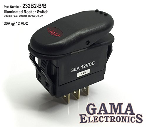 GAMA Electronics Waterproof Illuminated Double Pole, Double Throw 2 Position On-On Rocker Switch DPDT