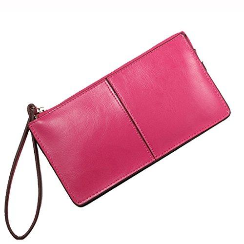 Wallet Rose Zipper red Women's Wristlet Handbag Purse Leather Iphone Clutch Fit HuaDa RwHqSTA