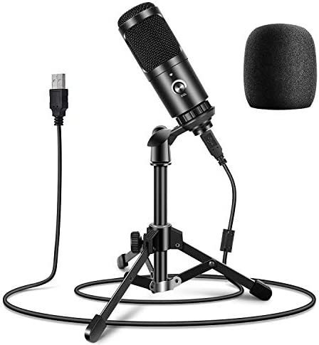 USB Podcast Microphone, Hi-res Sampling Rate 192KHZ/24BIT Condenser Cardioid PC Mic for Streaming, Studio, Voice Over, Skype YouTube Videos Vocal Recording, Compatible with Laptop Desktop