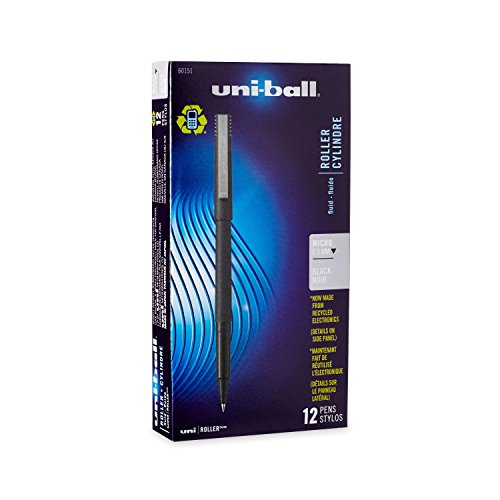 uni-ball 60151 Roller Pens, Micro Point (0.5mm), Black, 12 Count