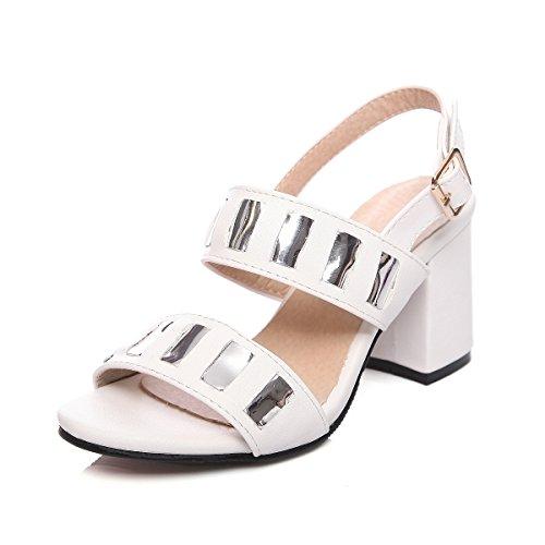 Grosso Sandalo Strappy Peep Tacco Vestito Sandali Bianco Donne Piattaforma Toe Aiweiyi qWzAwgfxFW