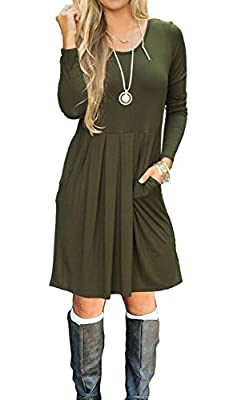JOSIFER Women's Long Sleeve Pleated Loose Swing Casual T-Shirt Dress With Pockets