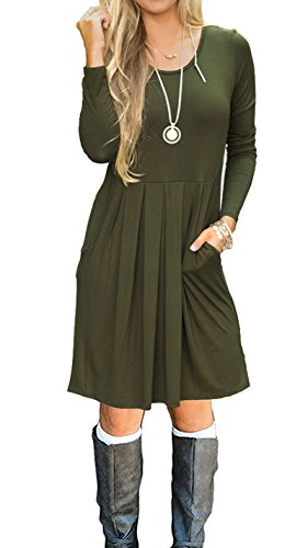 JOSIFER Womens Casual Long Sleeve Holiday T-Shirt Dresses Army Green,L