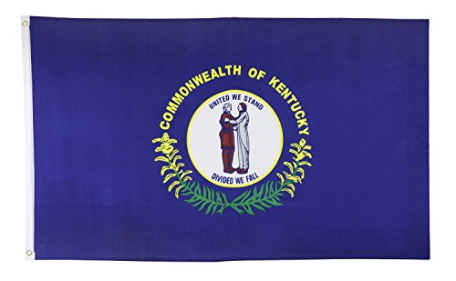 Shop72 US Kentucky State Flags - Kentucky Flag - 3x5' Flag from Sturdy 100D Polyester - Canvas Header Brass Grommets Double Stitched from Wind Side