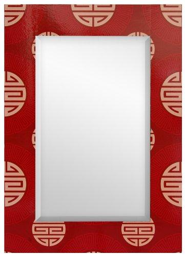 Oriental Furniture Red Shou Rectangular Mirror