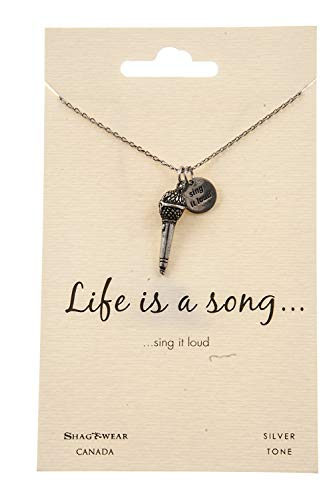 (Shag Wear Dream and Music Inspirations Quote Pendant Necklace (Microphone)