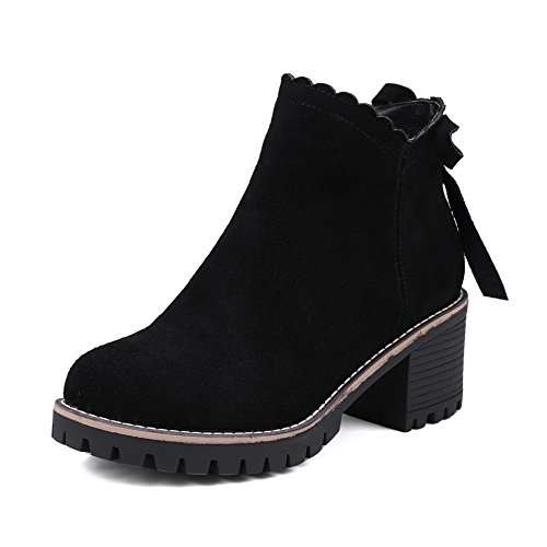 KingRover Women's Zipper Martin Boots Chunky Heel Cow Suede Leather Bowknot Boots Black RKUdpSk