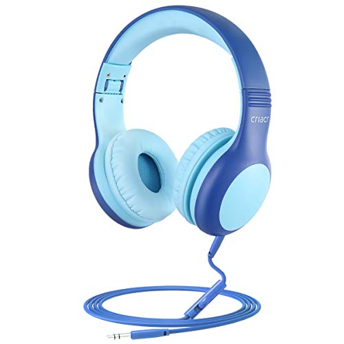 (2019 New) Kids Headphones, Volume Limited Hearing Protection Wired Headphone, Audio Sharing Function, Kids Friendly, Tangle-Free Cord, School On-Ear Headphones for Children, Girl, Boy (Blue)