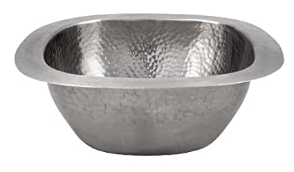Satin Nickel The Copper Factory CF154SN Solid Hand Hammered Copper 12.5-Inch by 12.5-Inch Small Square Bar//Prep Sink