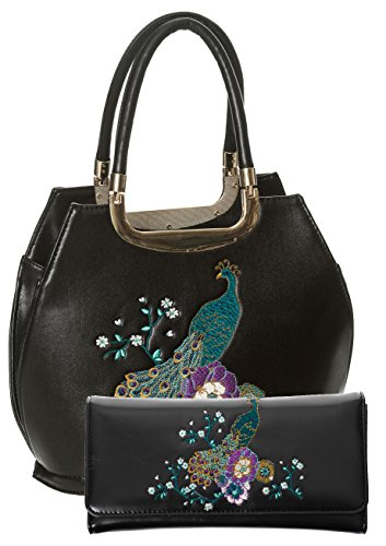 and by Days Black Floral 50s SET Peacock Handbag Wallet Banned Dancing Vintage qAdw8q