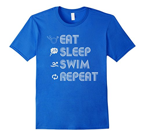 Mens Swim Eat Sleep Repeat Swimmer AM PM T Shirt XL Royal Blue