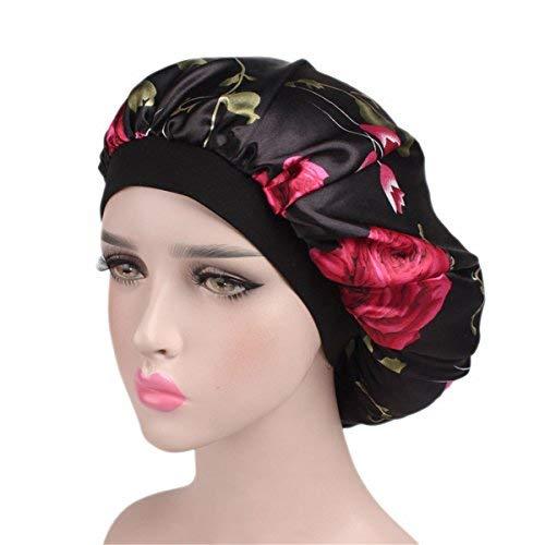 Qhome Luxury Wide Band Satin Bonnet Cap Comfortable Night Sleep Hat Hair Loss Cap