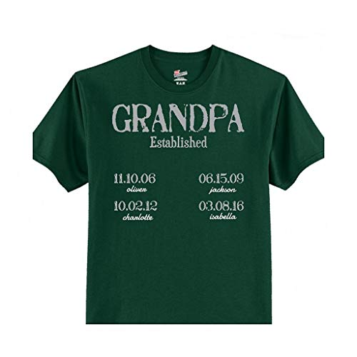 Personalized Established Father's Day T-Shirt for Dad and Grandpa (XXL (Mens 50/52), Hunter Green) ()