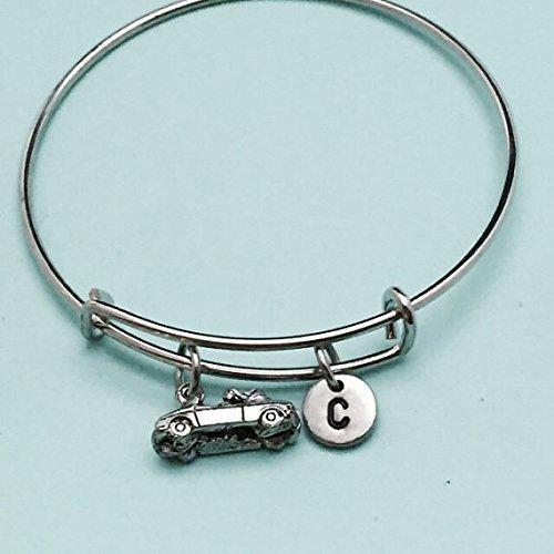 Convertible car bangle, convertible car charm bracelet, expandable bangle, charm bangle, personalized bracelet, initial bracelet, monogram