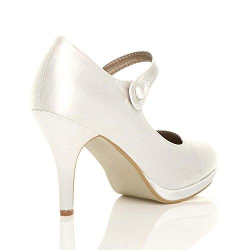 Abend Größe Jane Riemen Damen Mittel Elegant Weiß Schuhe Satin Mary Absatz Pumps Hoher wOYwp6aF