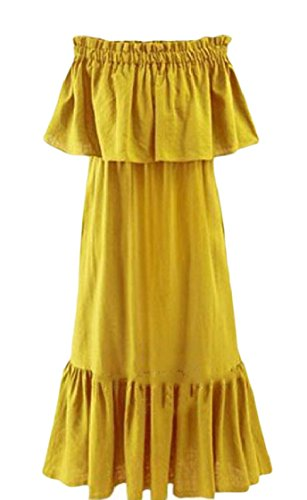 Plus Women Maxi Stitch Maxi Coolred Shoulder Size Dress Cold Flounced Yellow Skinny x5HwqA6wB