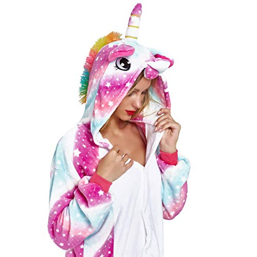 NOUSION Licorne Unisex Adult Pajamas, Cosplay Christmas Unicorn Sleepwear Onesies Outfit (M, Sky Unicorn New)]()