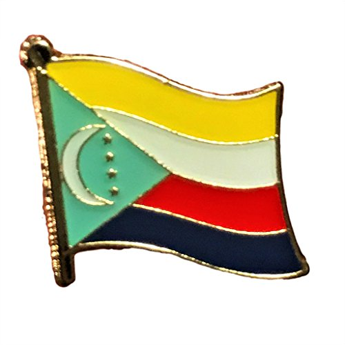 "Backwoods Barnaby Comoros Flag Lapel Pin/International Travel Pins Collections by (0.75"" x 0.75"")"