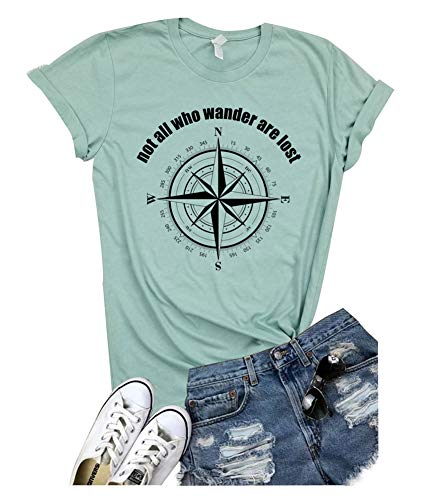 bc3d79ca5e Not All Who Wander are Lost Women Travel T Shirt Compass Graphic Baseball  Tee Short Sleeve