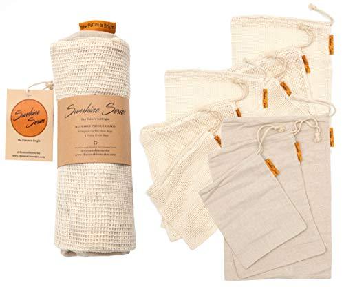 Sunshine Series The Set: Reusable Organic Cotton Mesh & Hemp Produce Bags for Veggies, Fruits, Grocery, Bulk Bin Items Sustainable Alternative To Plastic ()